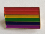 Gay Pride Rainbow Flag Rectangular Enamel Pin Badge